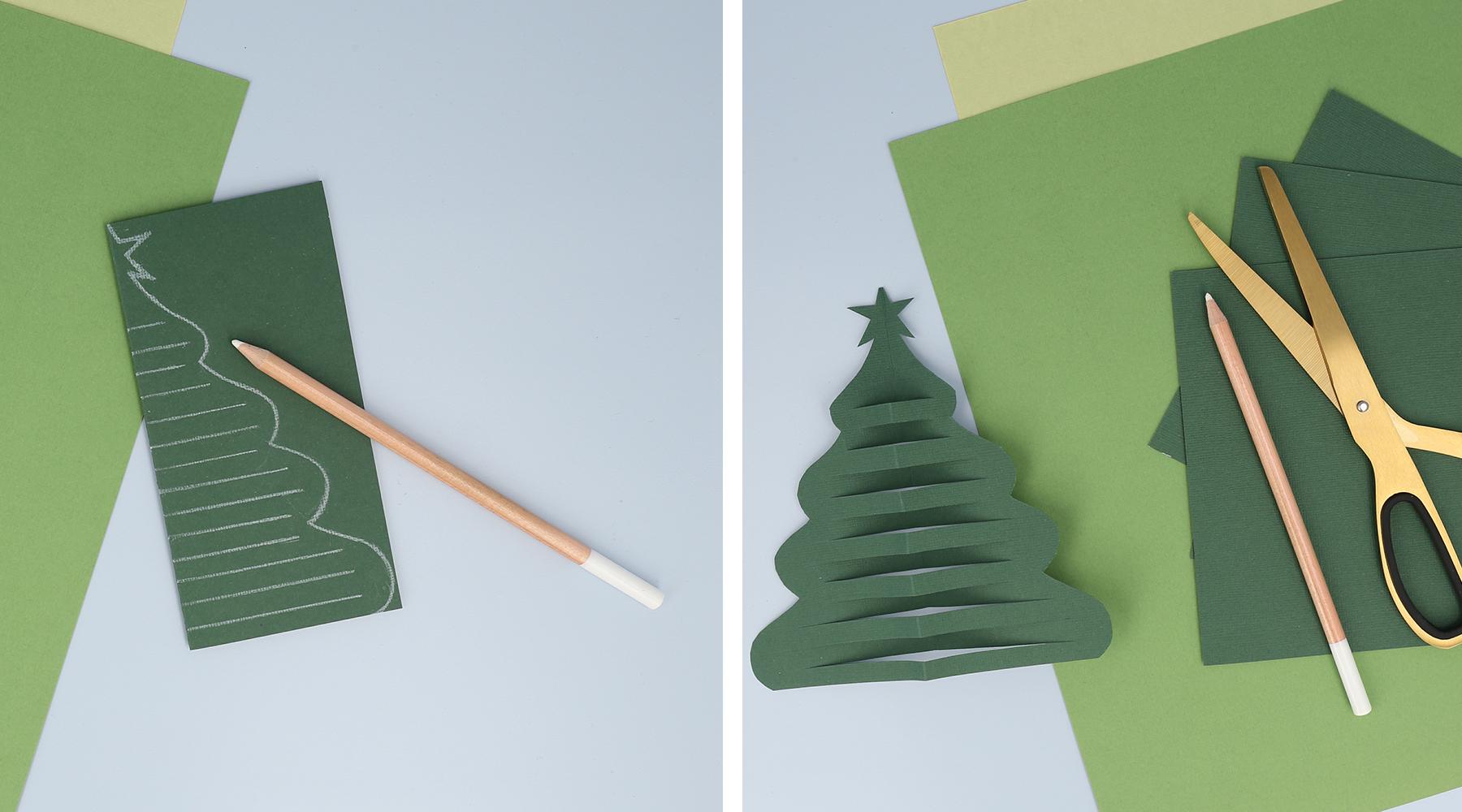 Piirrä ja leikkaa hieno joulukuusi