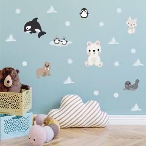 Seinätarrat arktiset eläimet - taianomainen lastenhuone