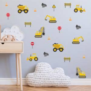 Hienot kaivinkone-seinätarrat - taianomainen lastenhuone
